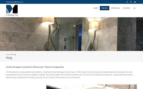 Screenshot of Pricing Page tilecm.com - Pricing – C. Malagisi Tile - captured July 6, 2017