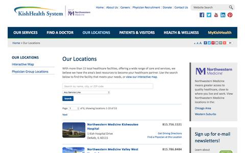 Screenshot of Locations Page kishhealth.org - Our Locations - KishHealth System - DeKalb, IL - captured June 4, 2017