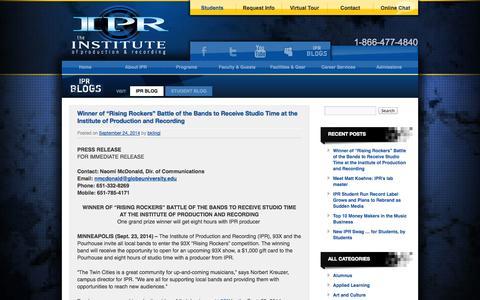 Screenshot of Blog ipr.edu - IPR Blog | IPR Blog - captured Sept. 25, 2014