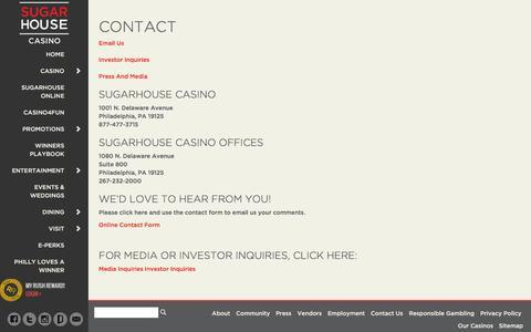 Screenshot of Contact Page sugarhousecasino.com - Contact SugarHouse Casino | Comments | Philadelphia - captured Sept. 21, 2018