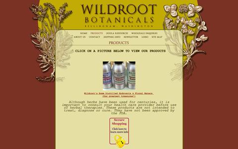 Screenshot of Products Page wildrootbotanicals.com - Wildroot Botanicals, Bellingham, WA : Products - captured Oct. 7, 2014