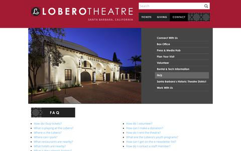 Screenshot of FAQ Page lobero.org - FAQ - Lobero Theatre - captured Sept. 1, 2017