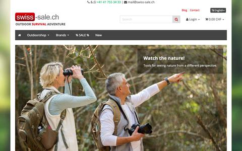 Screenshot of Home Page swiss-sale.ch - Swiss-Sale. ch - Your shop for outdoor technology! - captured Oct. 18, 2018
