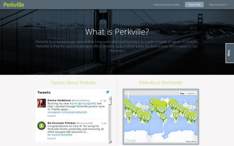 Screenshot of About Page perkville.com - Perkville - captured July 18, 2014