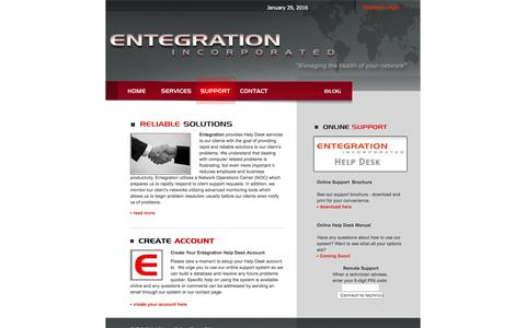 Screenshot of Support Page entegration.net - Entegration, Inc - Support - captured Jan. 29, 2016