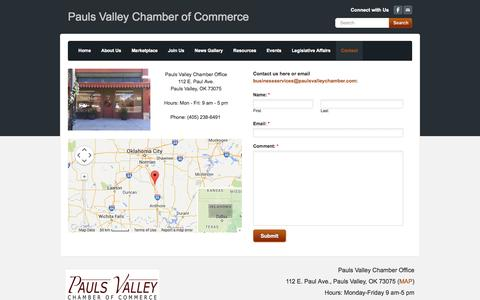 Screenshot of Contact Page Maps & Directions Page paulsvalleychamber.com - Contact - Pauls Valley Chamber of Commerce - captured Oct. 22, 2014