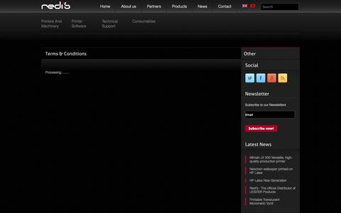 Screenshot of Terms Page redis.al - Terms & Conditions - Redis - captured Oct. 6, 2014