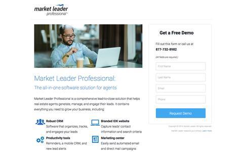 Screenshot of Landing Page marketleader.com - Market Leader Professional: Software Solution for Agents - captured Oct. 26, 2016
