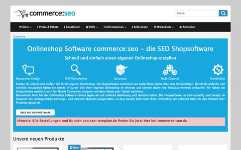 Screenshot of Home Page commerce-seo.de - Onlineshop Software SEO Shopsoftware Webshop - captured Jan. 23, 2015