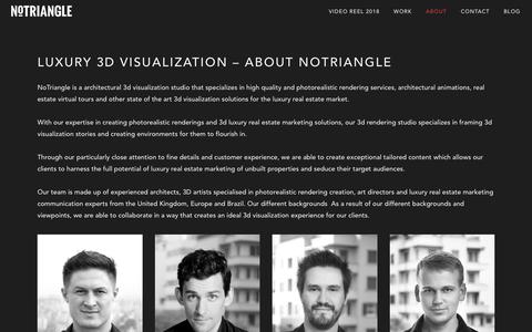 Screenshot of About Page notrianglestudio.com - 3d Visualization Studio - NoTriangle Studio | About - captured Dec. 5, 2018