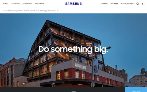 Screenshot of Jobs Page samsung.com - Samsung Careers: Find & Search Job Openings   Samsung US - captured May 5, 2017
