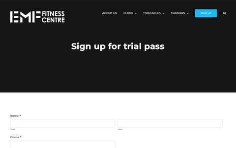 Screenshot of Trial Page emfitness.com.au - Sign up for trial pass - EMF Fitness - captured Jan. 10, 2018