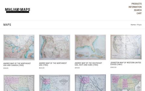 Screenshot of Maps & Directions Page miklianmaps.com - Maps - Page 1 - Miklian Maps, Antiquarian, and Militaria - captured Dec. 13, 2018