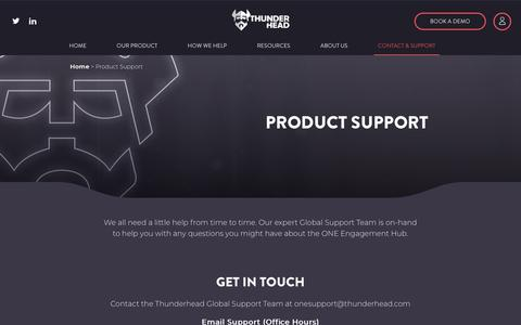 Screenshot of Support Page thunderhead.com - Product Support - Thunderhead - captured Oct. 9, 2019