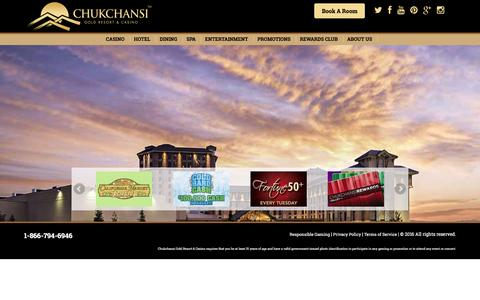 Screenshot of Home Page chukchansigold.com - Home - Chukchansi - captured Jan. 28, 2016
