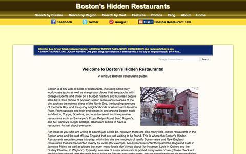 Screenshot of Home Page hiddenboston.com - Boston Restaurant Guide | Boston's Hidden Restaurants - captured April 13, 2018