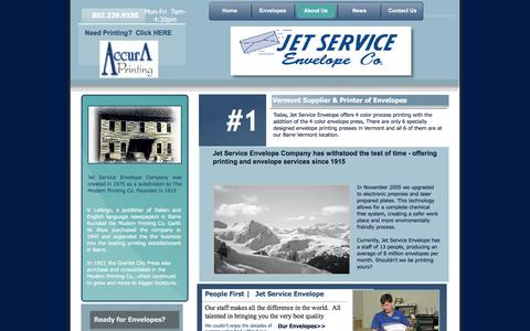 Screenshot of About Page jetservice-envelope.com - About Jet Service Envelope - captured June 17, 2016