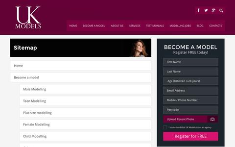 Screenshot of Site Map Page ukmodels.co.uk - UK Models : Check our site map for the site structure. - captured Sept. 19, 2014