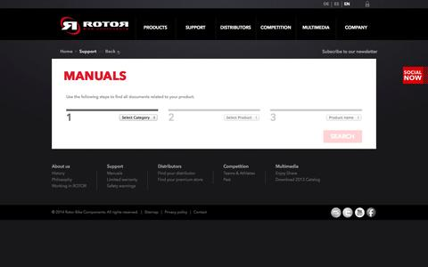 Screenshot of Support Page rotorbike.com - Rotor Bike Components | support - captured Oct. 26, 2014