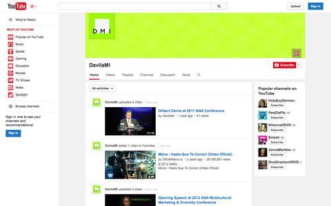 Screenshot of YouTube Page youtube.com - DavilaMI  - YouTube - captured Oct. 23, 2014