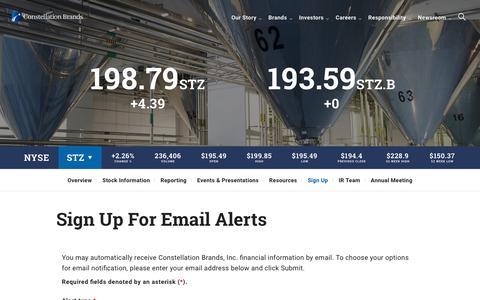 Screenshot of Signup Page cbrands.com - Constellation Brands   Investor Sign Up for Email Alerts - captured Aug. 17, 2019