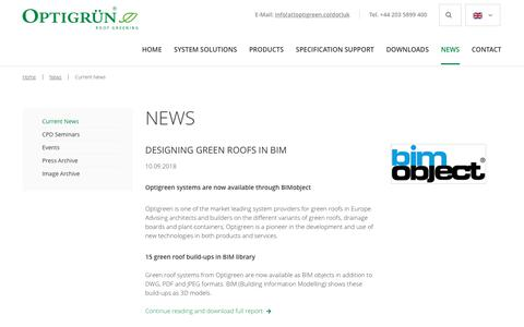 Screenshot of Press Page optigreen.co.uk - Current News - Green roof solutions by optigreen - captured Dec. 20, 2018