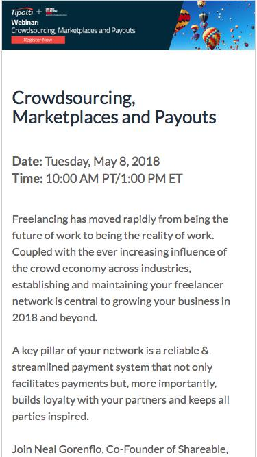 Crowdsourcing, Marketplaces and Payouts