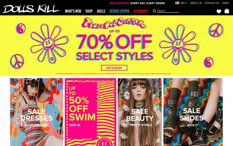 Screenshot of Home Page dollskill.com - Online Boutique for the Misfits & Miss Legits | Dolls Kill - captured Aug. 7, 2017