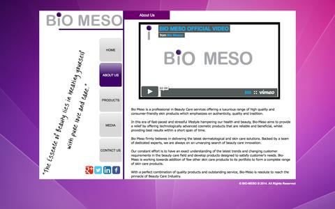 Screenshot of About Page biomesoo.com - Bio Meso - About Us - captured Oct. 5, 2014
