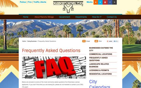 Screenshot of FAQ Page ranchomirageca.gov - Frequently Asked Questions | City of Rancho Mirage - Rancho Mirage - captured Sept. 28, 2018