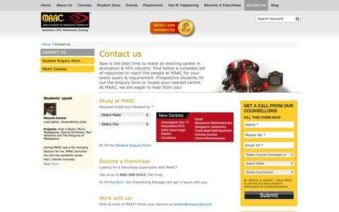 Screenshot of Contact Page maacindia.com - Looking for Animation & VFX Courses? Contact MAAC - captured Sept. 30, 2018