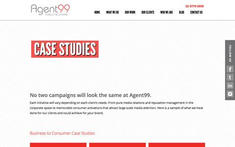 Screenshot of Case Studies Page agent99pr.com - Food, Travel, Wine & Restaurant PR Services in Sydney   Agent99 PR - captured Feb. 5, 2016