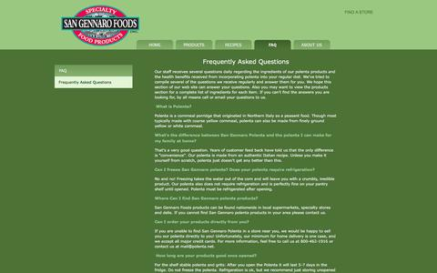 Screenshot of FAQ Page polenta.net - San Gennaro Foods - captured March 3, 2016