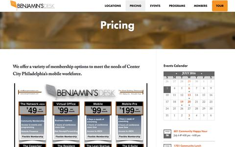 Screenshot of Pricing Page benjaminsdesk.com - Pricing - captured July 4, 2016