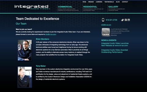 Screenshot of Team Page int-av.com - Team Dedicated to Excellence - Integrated Audio/Video - captured Oct. 6, 2014