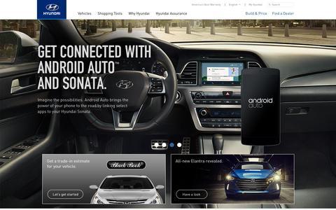 Screenshot of Home Page hyundaiusa.com - Hyundai Cars, Sedans, SUVs, Compacts, and Luxury | Hyundai - captured Jan. 13, 2016