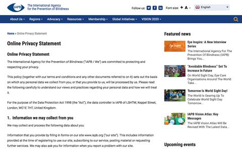 Screenshot of Privacy Page iapb.org - Online Privacy Statement - IAPB - captured Oct. 15, 2017