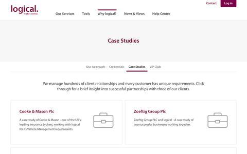 Screenshot of Case Studies Page logicalvm.co.uk - Case Studies - Logical Vehicle Management - captured Sept. 3, 2017