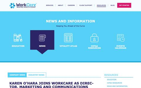Screenshot of Press Page workcare.com - News and Information | Work Care - captured Oct. 9, 2014