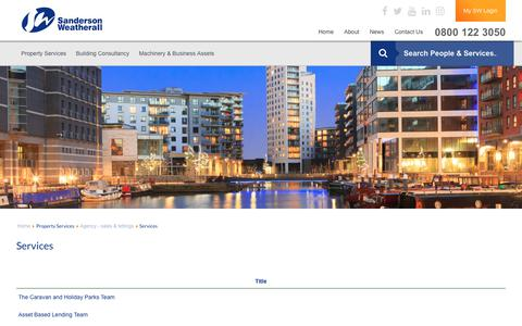 Screenshot of Services Page sw.co.uk - UK Commercial Property Sales and Lettings Agency | Sanderson Weatherall - captured July 18, 2017