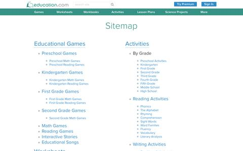 Screenshot of Site Map Page education.com - Sitemap | Education.com - captured July 3, 2016