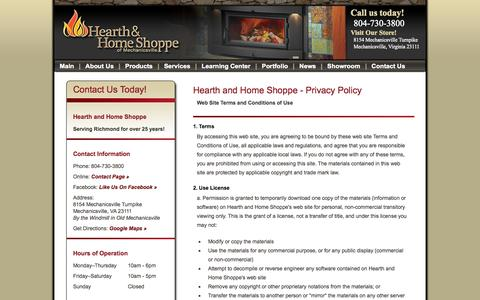 Screenshot of Privacy Page hearthandhomeshoppe.com - Privacy Policy, Terms and Conditions | Hearth and Home Shoppe Virginia - captured Oct. 28, 2014