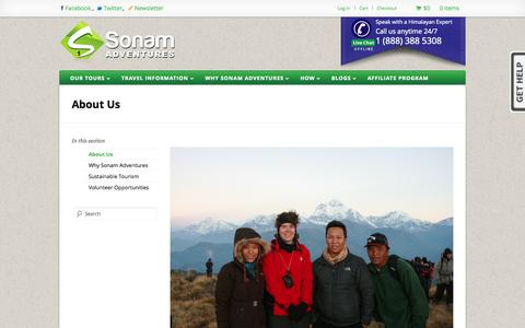 Screenshot of About Page sonamadventures.com - About Us - Sonam Adventures - captured Oct. 26, 2014