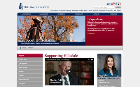 Screenshot of Support Page hillsdale.edu - Support Hillsdale College - Hillsdale College - captured Oct. 30, 2014