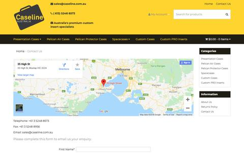 Screenshot of Contact Page caseline.com.au - Contact Us - captured Sept. 27, 2018