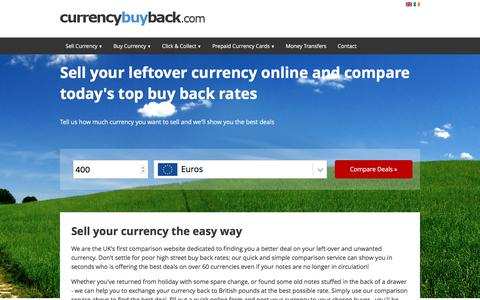 Screenshot of Home Page currencybuyback.com - Sell Unused Currency: Compare Buy Back Rates, Find the Best Currency Buyback Rates Today - captured May 23, 2017