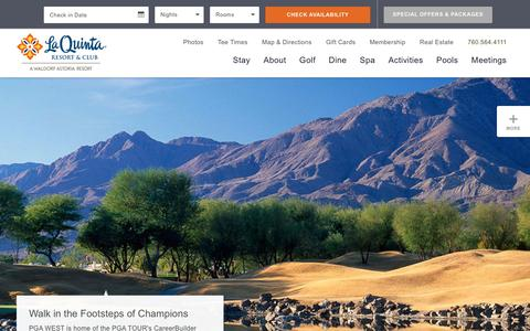 Screenshot of Home Page laquintaresort.com - La Quinta Resort | Palm Springs Hotel | Palm Springs Resorts - captured Jan. 16, 2016