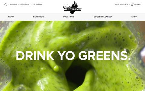 Screenshot of Home Page juicegeneration.com - Juice Generation - captured Aug. 7, 2016