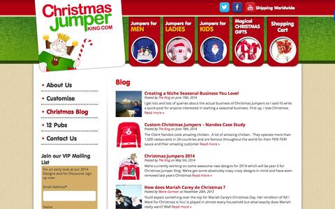 Screenshot of Blog christmasjumperking.com - Blog | Christmas Jumper King - Christmas Jumpers with Lights | 3D Christmas Jumpers - captured Sept. 29, 2014