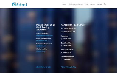 Screenshot of Contact Page atimi.com - Contact - Atimi Software Inc. - captured Oct. 4, 2014